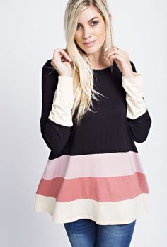 SOHO Clothing Co. is the Premier Online Destination for Fun Seasonal Shirts, Stunning Dresses, and On-Trend Tops and Bottoms. Clothing Co, Stunning Dresses, Spring Summer 2018, Color Blocking, Tunic Tops, Shirts, Clothes, Black, Women