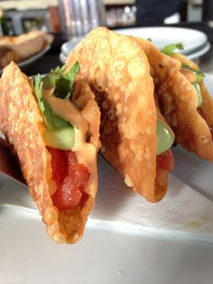Spicy tuna in crispy wonton wrappers shaped like taco shells with wasabi and red pepper aioli sauces! Engel Engel Engel's in Venice Beach, CA Great Recipes, Snack Recipes, Cooking Recipes, Favorite Recipes, Crispy Wonton, Aioli Sauce, Healthy Foods, Healthy Recipes, Cookbook Ideas