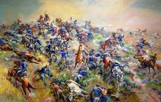 The Indians surround the hill and begin to systematically kill every soldier on the hill. Custers body is found on Last Stand Hill with many of his men. American Indian Wars, American War, American History, Military Art, Military History, Battle Of Little Bighorn, George Armstrong, Civil War Art, West Art