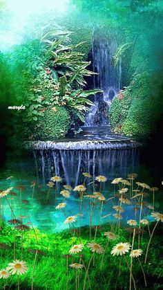 water fountain, nature, animated gifs, lily pond, daisies, flowers, landscape, trees, leaves, scenery, pretty - Click to play