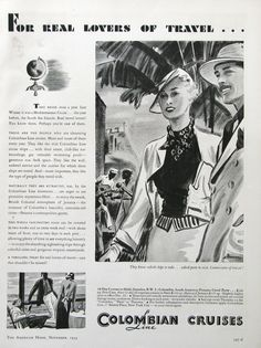 1934 Colombian Cruises Line Ad - For Real Lovers of Travel - 1930s South America Travel Ad - Connoisseurs of Travel by RetroReveries on Etsy https://www.etsy.com/listing/253635793/1934-colombian-cruises-line-ad-for-real