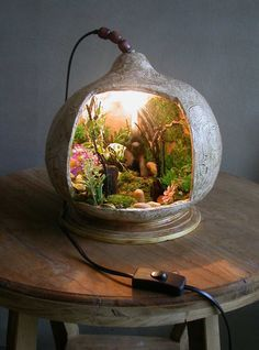 Fairy garden inside an old TV (I think!)