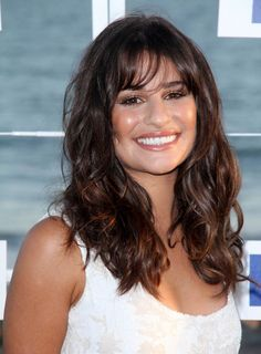 long curly hair with bangs | Lea Michele Long, Wavy, Tousled, Brunette Hairstyle with Bangs ...