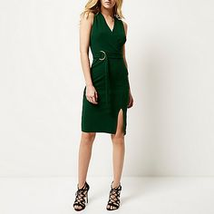 Dark green D-ring belted wrap dress - bodycon dresses - dresses - women