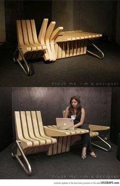 DESIGNER INSPIRATION eco furniture of the future Smart space use Coffee bench Karolina Tylka 2002 (cushion concept that would not be in the way needed foldable?) The post DESIGNER INSPIRATION eco furniture of the future appeared first on Design Diy. Woodworking Projects, Diy Projects, Design Projects, Woodworking Techniques, Teds Woodworking, Project Ideas, Adjustable Table, Cool Inventions, Unique Furniture