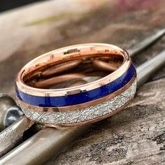 Lapis Lazuli, Wood Inlay Rings, Wooden Wedding Bands, Meteorite Ring, Alternative Metal, Stylish Couple, Wedding Keepsakes, Promise Rings, Rose Gold Plates