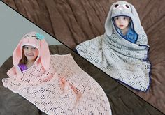 Easy Crochet Hooded Bunny Blanket pattern to help you make the perfect gift! You can make it with either worsted weight yarn or chunky yarn and it works great for both boys and girls! #easter #crochet #pattern #bunny #blanket #briabby