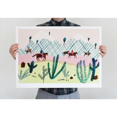 """Originally created for Wrap issue 5, this charming print - 'Horse trekking in the Andes' is by the very talented Charlotte Trounce:""""Other than really wanting to paint horses, I really liked the idea of illustrating a group of people, who love riding, setting off on an adventure through an extreme landscape"""