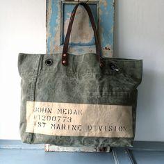 50's USMC 1st Marine Division duffle bag remake tote bag W56.5cm H37cm D14cm Handle51cm IND_BNP_0096_USMC