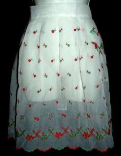Sheer Vintage Christmas Holiday Poinsettia Red Green Organdy Apron