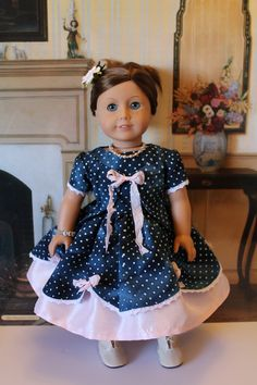 American Girl Party pink blue ball gown, 1850's Cecile Marie Grace. $44.00, via Etsy.
