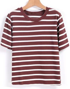 Round Neck Striped Coffee T-shirt 10.99