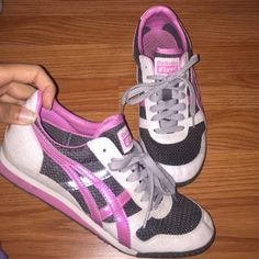 """Onitsuka """"Tiger"""" grey white and pink Sneakers Sneakers, size 8, pink grey and white colors. Marks from wear and tear so I have marked down. Unitsuka Tiger Shoes Sneakers"""