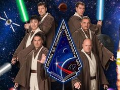 First there was suited-up astronaut Leland Melvin posing with his dogs. Now, a Space Station crew set for launch in September has donned Jedi robes. 021215