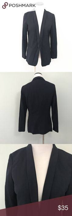 "H&M Navy blue Boyfriend Blazer Jacket Gently worn. Excellent condition. Light shoulder pads. Chest 19"". Length 27.5"". Size tag is missing. I'd guess this is a large. Please refer to measurements. H&M Jackets & Coats Blazers"