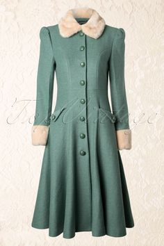 40s Annabelle Princess Coat Mint Green - Collectif Clothing