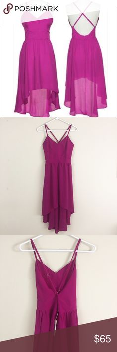 """NWT. Lavender Brown Clothing berry high low dress NWT. Lavender Brown Clothing berry high low dress. This is so so pretty😍😍Cross adjustable straps & low back. Size XS. 17"""" pit to pit and 35"""" long front/47"""" long back Lavender Brown Dresses"""