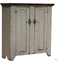 Primitive cabinet farmhouse cabinet, jelly cupboard, in a painted distressed antique aged finish, rustic style shabby chic furniture decor – Farmhouse furniture Rustic Farmhouse Furniture, Primitive Furniture, Country Farmhouse Decor, Country Furniture, Shabby Chic Furniture, Country Homes, Primitive Homes, Primitive Kitchen, Country Primitive