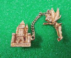 Disneyland circa 1960s Vintage Souvenir Tinkerbell and Castle Sweater Clasp Pin