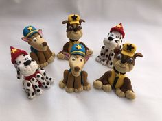 Fondant paw patrol toppers Paw Patrol, Cupcake Toppers, Fondant, Cupcakes, Christmas Ornaments, Holiday Decor, Cupcake, Fondant Icing, Christmas Jewelry