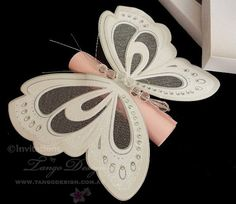 Butterfly Scroll Invitations x15 with NO Box by InvitationsbyTango