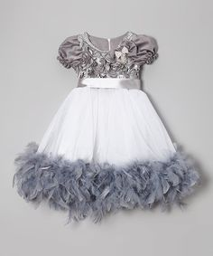 Another great find on #zulily! Gray Rosette & Feather Dress - Toddler & Girls #zulilyfinds