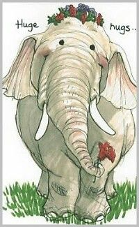 Big on sharing. Huge hugs to all. A trunk full of flowers to make you smile and love kindness wishes. Elephant Love, Elephant Art, Suzy, Baby Animals, Cute Animals, Hug Quotes, Elephant Illustration, Love Hug, Illustrations