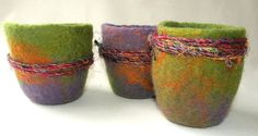 Nesting Felted MAORI Bowls Set of 3 with Sari by eneefabricdesign