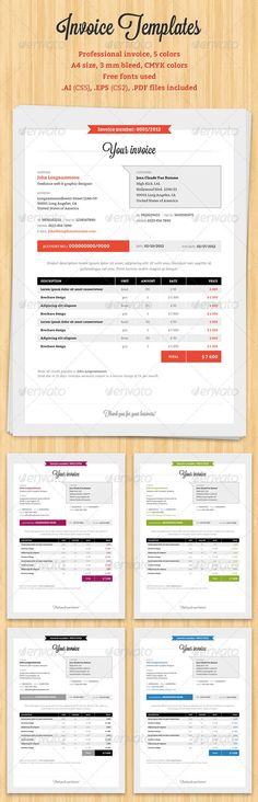 Buy Professional Invoice by mareklevak on GraphicRiver. Professional invoice template set in 5 different colors. Invoice Layout, Invoice Design, Invoice Template, Stationary Branding, Business Stationary, Stationary Design, Corporate Design, Business Design, Creative Business