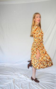 Gorgeous 1950s Silky Rayon Dress Floral Mums Print Earthy Colors 1940s 50s Movie Star Size M/L Fall Autumn Jackpot Jen by JackpotJen on Etsy