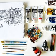 Day 4 of @etsycalgary Made in Canada 12 days of Etsy photo challenge. Today's photo: tools of the trade. These are the materials I use most often (although I'm known to use many more at times): acrylic paint (usually @grumbacherart or @liquitexofficial) India Ink @fabercastellglobal PITT pens @daler_rowney acrylic ink a variety of well-loved brushes from @michaelsstores  a very official plastic lid for a paint palette and my sketchbook (the most important tool of all). #12DAYSMICYYC…
