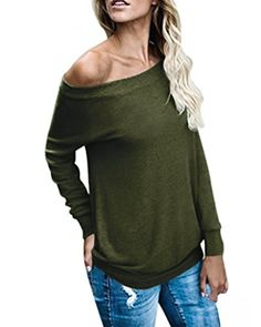 7431b39b6d4bb Boat Neck One Shoulder Sweaters Sexy Long Sleeve Tops Casual Sweatshirts  for Women   Junior