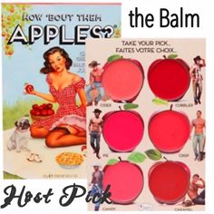 "the Balm How 'Bout Them Apples Cheek & Lips HP The Balm Lip and Cheek Cream Full Sized Palette. ""How 'Bout Them Apples?"" is a multi-functioning lip and cheek cream palette. Each freshly picked color is formulated to have a smooth finish that won't streak or fade, so there are no bad apples in this bunch! This palette is gorgeous and very popular. You won't be disappointed!  BNIB. Never used or swatched. 100% Authentic. No Trades, No PP.  Price Reduced. Price Is Firm!!! The Balm Makeup Blush"