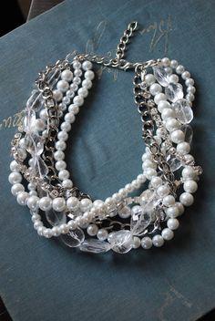 Pearl Twist Statement Necklace with Quartz by SarahWhiteJewelry, $78.00