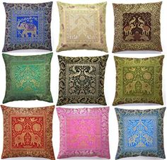 #wow This cushion set is really beautiful home decor item that can brighten up any room. Beautiful #Silk Brocade Work increases the grandeur of these cushions an...