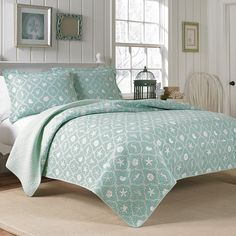 #LauraAshley Hyannis Quilt Set. #beachy #aqua #bedroom #beddingstyle