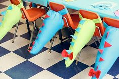 Dinosaur tails - decoration for back of chairs, then wear home