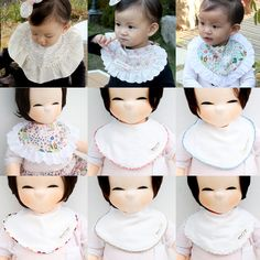 Cute Newborn Baby Bib Frilly Piping Cotton Infant Toddler Handmade Eb236 #Ggoomduboo