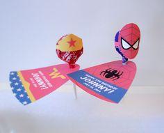 Super Hero Inspired Personalized Lollipop Favors (Batman, Robin, Spiderman, Wonder Woman, Superman & Supergirl) - Set of 24. $30.00, via Etsy.