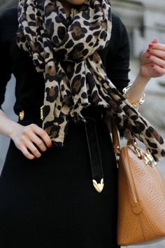 black, leopard scarf, camel colored handbag