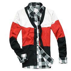 Men's Color Matching Long Sleeve Cardigan