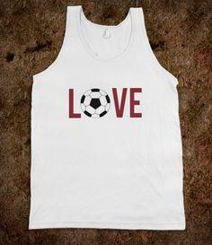 Love Soccer Tank Top  (red)  #soccer  #sports  #skreened
