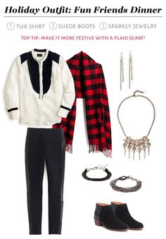 Holiday Outfits - silk tuxedo shirt, suede boots, sparkly accessories! Add a plaid scarf for color