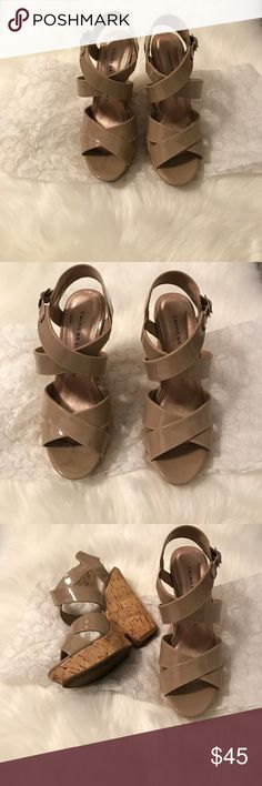 Chinese laundry wedge heels Chinese laundry style gum drop wedge heels in nude color size 6. A must have for spring and summer. Only worn once. Chinese Laundry Shoes Wedges