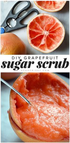 Exfoliate dead skin cells and renew damaged skin with this gentle homemade sugar scrub recipe! DIY grapefruit sugar scrub--also makes great gifts!