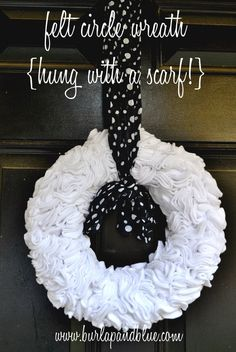 This felt circle wreath takes a little bit of time (perfect for your current Netflix binge), but is super easy to make! Perfect for your front door, or anywhere in your home you'd like a bit of ruffly texture! Felt Wreath, Diy Fall Wreath, Wreath Ideas, Wreath Crafts, Monogram Wreath, Burlap Wreath, Rag Wreaths, Monogram Initials, Easy Craft Projects