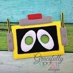 Yellow Robot Mask Embroidery Design - 5x7 Hoop or Larger