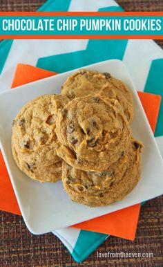 Chocolate Chip Pumpkin Cookies.  Moist, chewy and delicious!  It's like getting a serving of veggies in dessert!