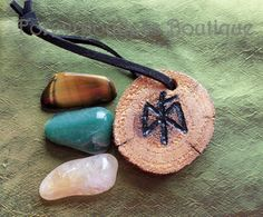 Items# PRCK 01  we have a wooden coin etched  bind rune of : Prosperity. runic charm has been hand crafted. This rune can be used for symbol that is etched on wooden coin. This Charm is joined with, 3 semiprecious stone, all the follow the same Magickal Properties .Tiger eye: Good luck, wealth, prosperity. Citrine: stone of abundance, attracts: Prosperity , success. Aventurine: luck, money, prosperity, balance. Charm can be hung in home or work. Price 10.00 + free shipping (USA)