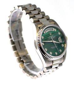 3f951c62149 Rolex Mens President White Gold Green Malachite Diamond Dial   Fluted Bezel   Rolex  Fashion